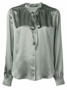 Luisa Cerano silk pussy bow blouse - Green