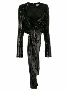 16Arlington tie detail sequin blouse - Black