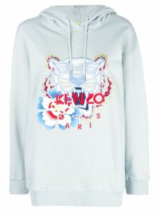 Kenzo embroidered tiger logo hoodie - Blue