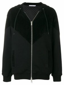Givenchy panelled zip front hoodie - Black