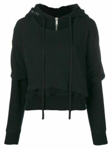Unravel Project T-shirt layered hoodie - Black