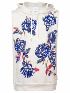 Ashish rose sequin sleeveless hoodie - Grey