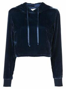 Fleur Du Mal cropped velvet hoodie - Blue