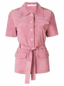 Victoria Beckham Safari suede shirt - PINK