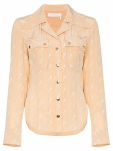 Chloé horse printed double pocket silk shirt - Pink