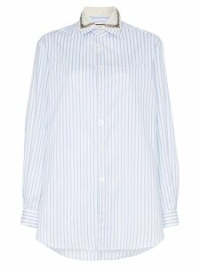 Gucci embellished collar pinstripe cotton shirt - Blue