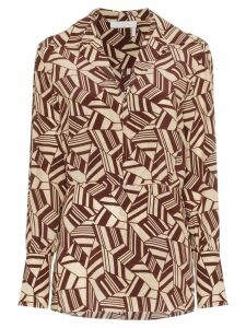 Chloé geometric print silk shirt - Brown