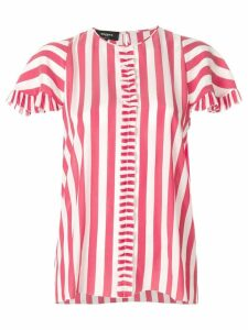 Rochas striped frill pleat shirt - Red