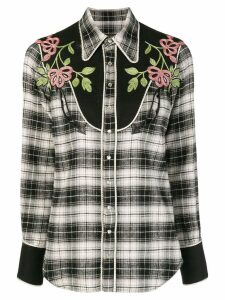 Dsquared2 floral embroidered tartan shirt - Black