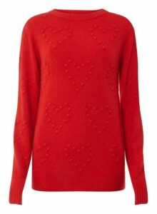 Womens **Tall Red 3D Heart Jumper- Red, Red