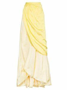 Rosie Assoulin tie waist long silk skirt - Yellow