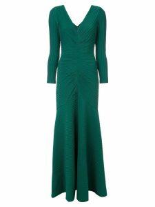 Tadashi Shoji ribbed detail long dress - Green