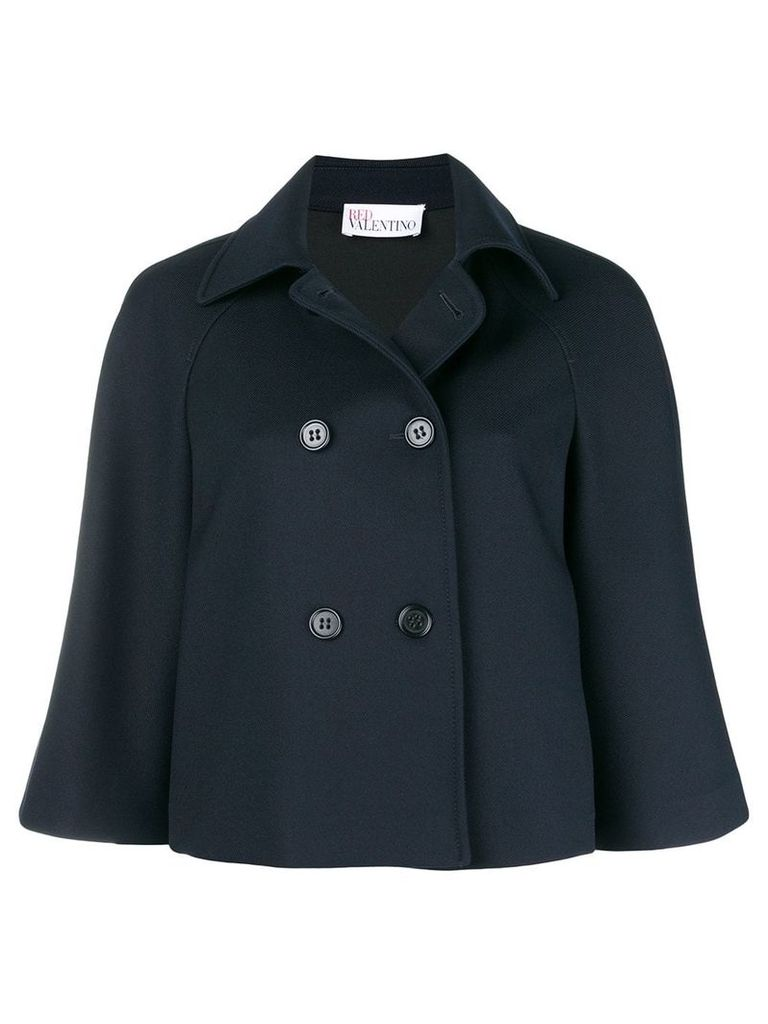 Red Valentino double breasted cape jacket - Blue