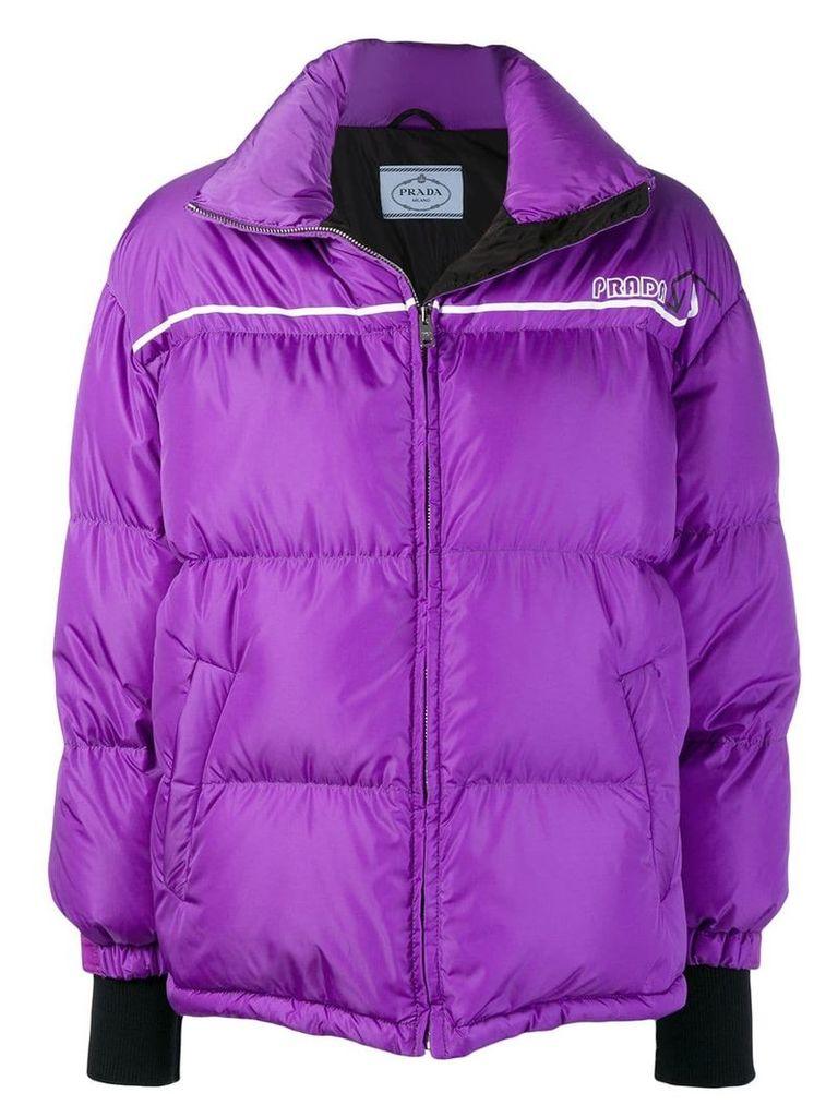 Prada wrap-front padded jacket - Purple