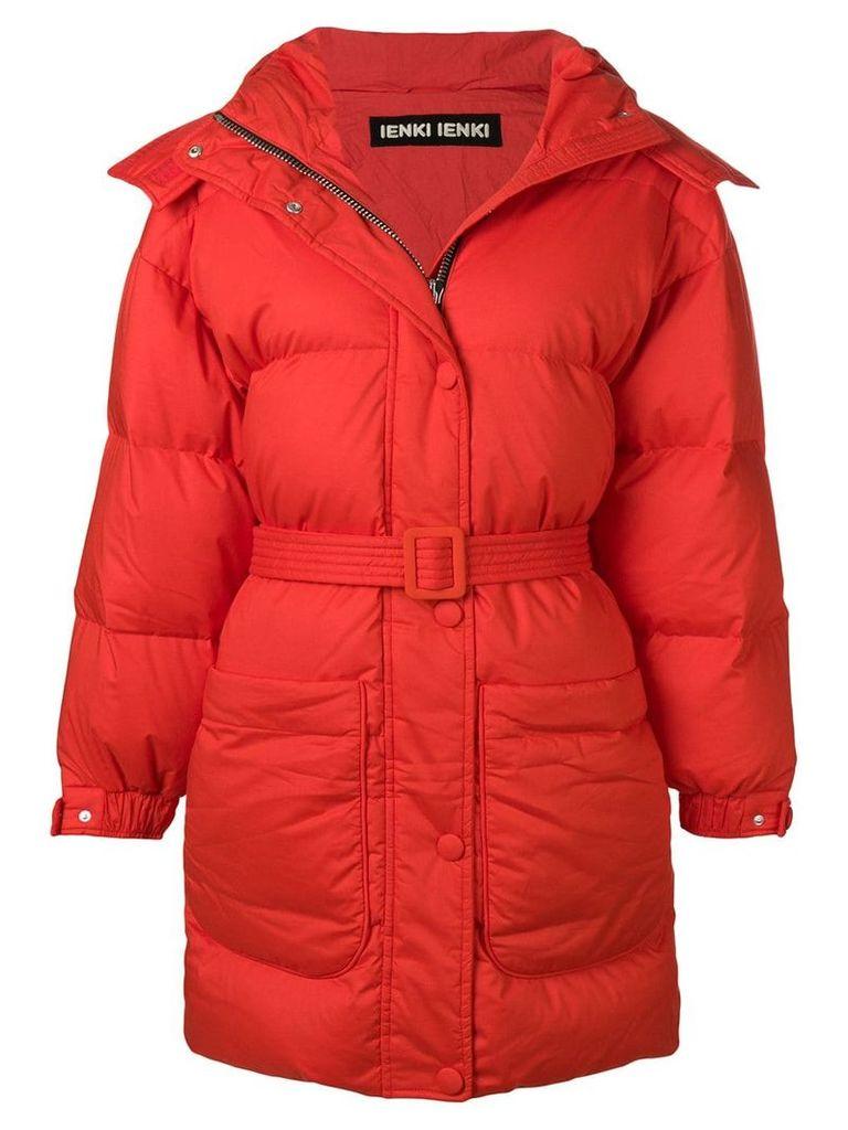 Ienki Ienki belted puffer jacket - Red