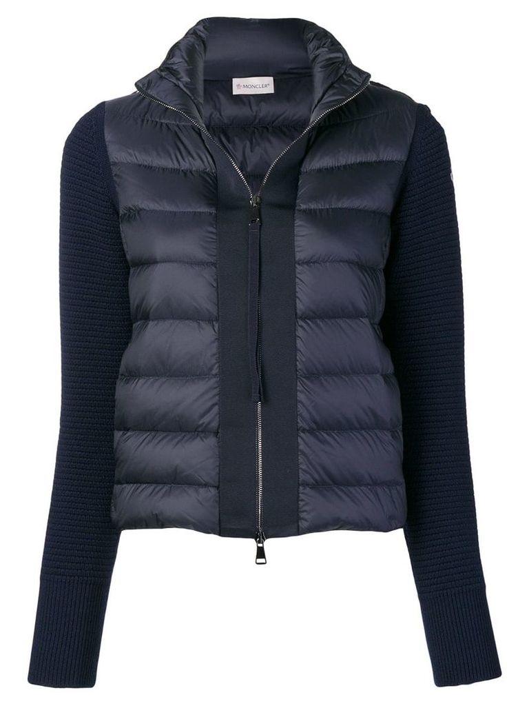 Moncler knit-panel padded jacket - Blue