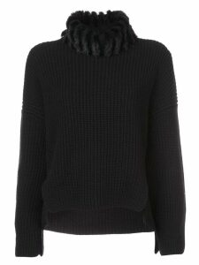 Fendi faux-fur neck cashmere jumper - Black