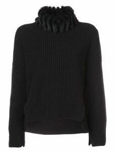 Fendi faux-fur neck cashmere jumper - Black