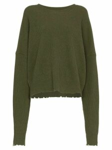 Unravel Project frayed rib knit jumper - Green