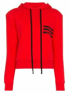 Unravel Project Cropped Hooded Cotton Jumper - Red
