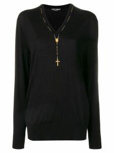Dolce & Gabbana rosary detail jumper - Black