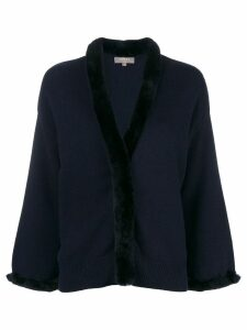 N.Peal fur trim cardigan - Blue