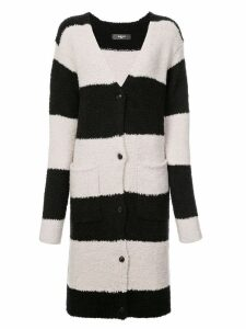 Amiri wide stripe mid-length cardigan - Black