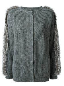 Liska fox fur trim cardigan - Grey