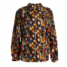 Tomcsanyi - Koki Face Print Gathered Shirt