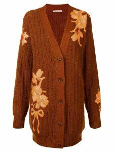 Christopher Kane floral-embroidered cardigan - Brown