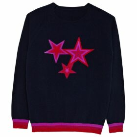 Cove - Berry Navy Star Cashmere Jumper