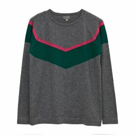 Cove - Alice Grey Chevron Cashmere Jumper With Neon Stripe