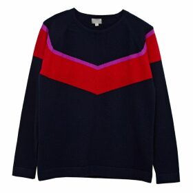 Cove - Alice Navy Chevron Cashmere Jumper With Neon Stripe