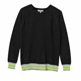 Cove - Iris Charcoal Cashmere Jumper with Neon Stripes