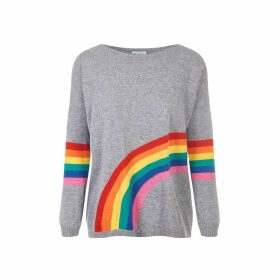At Last. - Cashmere & Wool Jumper-Grey Rainbow