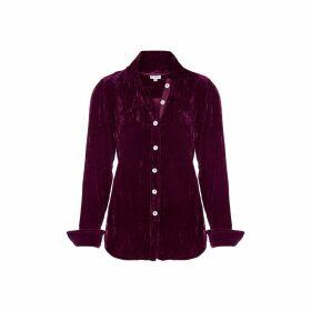 At Last. - Karen Silk Velvet Shirt Fuchsia