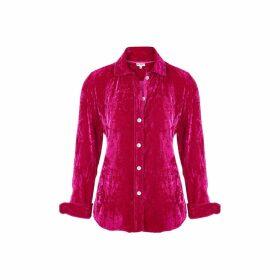 At Last. - Karen Silk Velvet Shirt Hot Pink