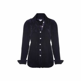 At Last. - Karen Silk Velvet Shirt Navy