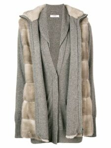 Liska fur layered cardigan - NEUTRALS