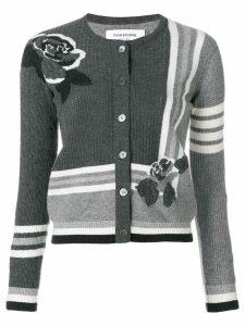 Thom Browne Rose Intarsia Cashmere Cardigan - Grey