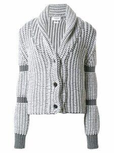 Thom Browne Bi-Colored Chunky Shawl Collar Cardigan - Grey
