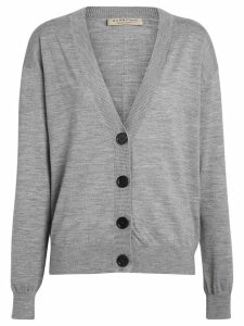 Burberry Vintage Check Detail Merino Wool Cardigan - Grey