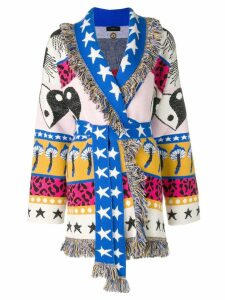 Alanui belted patchwork cardigan - White