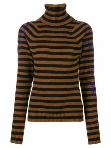 Haider Ackermann striped roll neck jumper - Brown