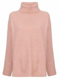 Le Kasha ribbed oversized polo neck jumper - Pink