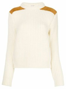 Saint Laurent ribbed mock neck sweater - White