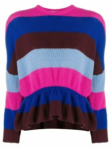 Red Valentino striped ruffled jumper - PINK