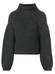 LANVIN ribbed knit gathered sleeve sweater - Grey
