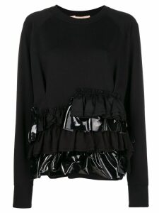 Gina ruffle trim sweater - Black