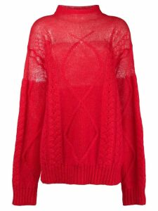 Maison Margiela sheer cable knit sweater - Red